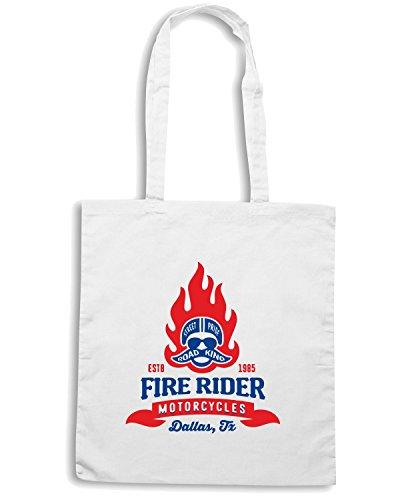 T-Shirtshock - Borsa Shopping TB0478 vintage motorcycle club shop garage retro symbol fire racer helmet Bianco