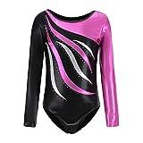 Dkhsy Justaucorps de Gymnastique à Manches Longues pour Filles Body à Rayures métalliques et étincelles Costume de Danse de Ballet d'athlétisme