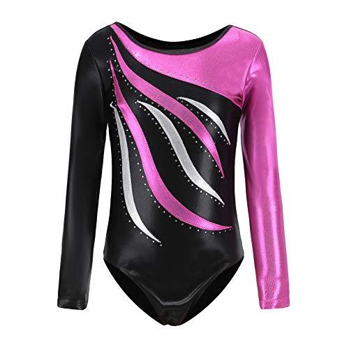 Reefa Leotards für Mädchen Gymnastik Kinder Einteilige Sparkle Ballett Tutu Kleid Tanz Turnanzug (R, 130 (6-7 Jahre)) Sparkle Tutu