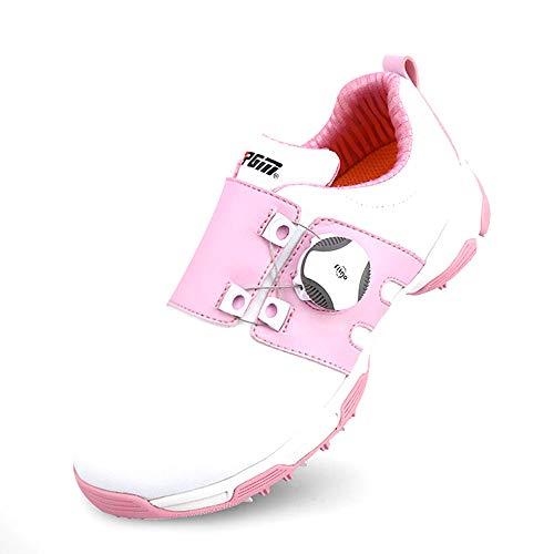 Mhwlai Scarpe da Golf, Scarpe Sportive per Ragazzi e Ragazze Borchie rotanti Antiscivolo Impermeabili e Traspiranti (Fluorescenti, Bianche e Rosa),B,33