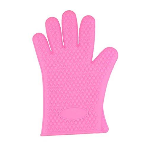 Handschuhe erthome Küche Hitzebeständige Silikon Handschuh Ofen Topflappen Backen BBQ kochen werkzeug (Rosa) (Kleidung Vor Angst)