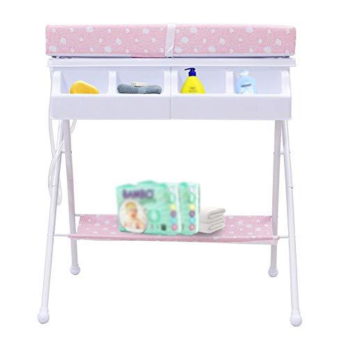 Table à Langer Station De Pliage Bath Nouveau Née Lit Bébé Portable Organisateur De Couches pour Bébé, Style De Jambe Croisée (Couleur : Pink)
