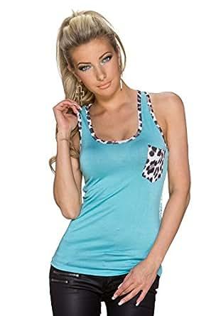4374 Fashion4Young Damen ärmelloses Top Tank-Top Spitze Shirt Blütendesign verfügbar 7 Far Gr. 34/36 (34/36, Türkisblau)