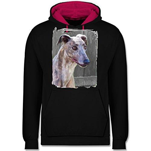 Hunde - Windhund - Kontrast Hoodie Schwarz/Fuchsia