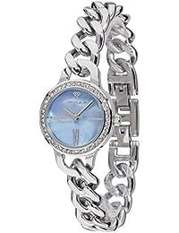 Yves Camani Damen-Armbanduhr Burgaudine mit silbernem Edelstahl-Gehäuse und blauem Zifferblatt aus Perlmutt. Elegante Quarz Damen-Uhr mit steinbesetzer Lünette und silbernem Edelstahl-Armband
