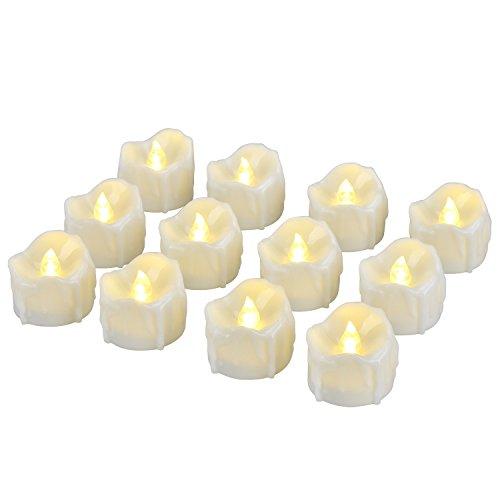 LED Kerzen, Pretop LED Tee Lichter flammenlose Kerzen mit Timer, Automatikmodus: 6 Stunden an und 18 Stunden aus, 3.2x3.6 cm, [12 Stück, Warm-weiß]