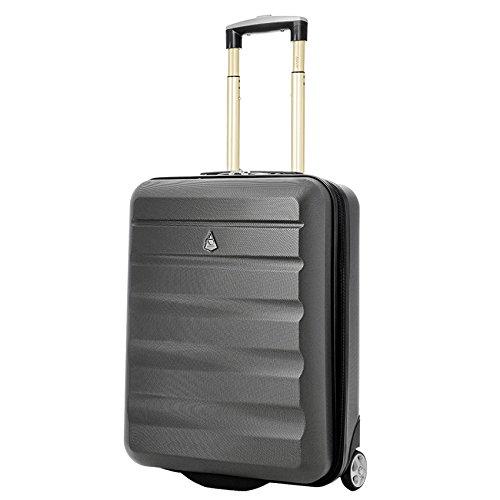 Aerolite 55x40x20 Ryanair Höchstbetrag 2-Rad Leichtgewicht Hartschale Bordgepäck Handgepäck Kabinentrolley Reisekoffer Trolley Koffer, Kohlegrau/Gold