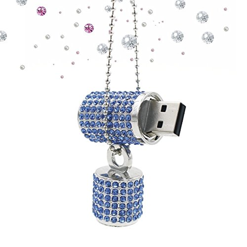 Shooo chiavetta usb,bling rhinestone diamond crystal glitter rossetto case shining jewelry collana,8gb,sea blue