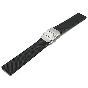 Meyhofer EASY-CLICK Uhrenarmband Casoria 20mm schwarz Kautschuk Gemustert mit Faltschließe My2bnmk9001