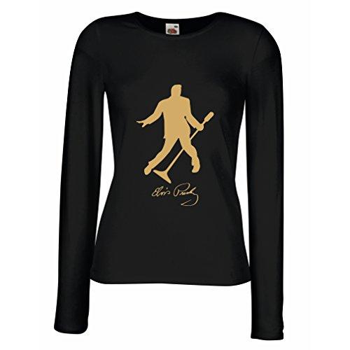 lepni.me Weibliche Langen Ärmeln T-Shirt Ich Liebe Dich Elvis - King of Rock'n'Roll 50er, 60er, 70er, Partykleidung (Large Schwarz Gold) - Elvis Hoodie