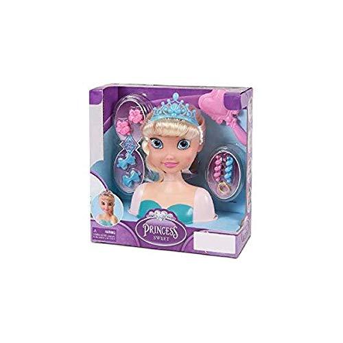 PRINCESAS Juguete Busto Muñeca Hielo para Peinar/Incluye Accesorios para Peinado y Belleza/para Niñas a Partir de 3 años