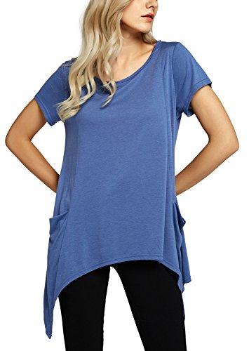 Damen Kurzarm Pullover Oberteil Tunika Loses T-Shirt Blue