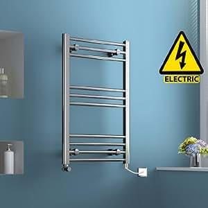 800 x 500 mm Electric Heated Towel Rail Chrome Straight Ladder Bathroom Radiator