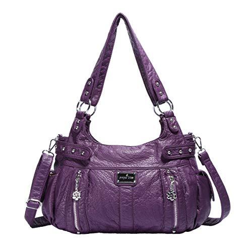 angel kiss Damen Handtasche Lässige Schultertasche Umhängetaschen Hobo Taschen Henkeltaschen Leder für Arbeit Schule Shopper Violett