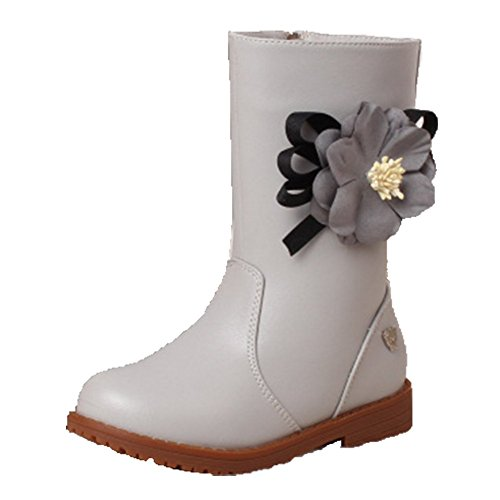 Ohmais Enfants Fille bottes et bottines botte classiques fille petit talons Chaussure Gris