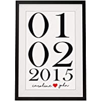 Personalised Valentines Day Or Wedding Anniversary Gift For Husband Wife Couples | 12x10 Inch Framed Print with Mount | Name And Date | Black