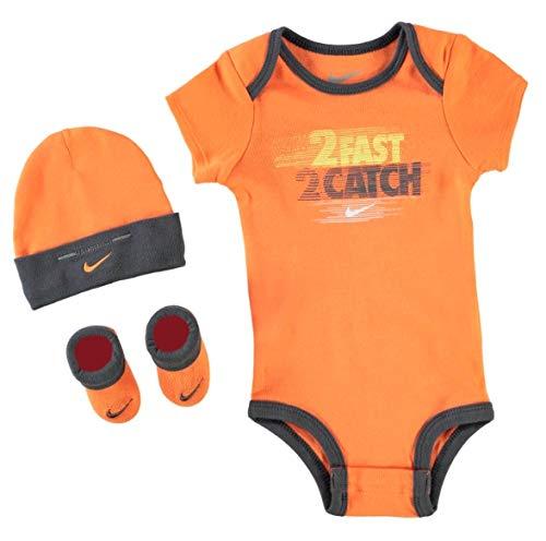 Nike Baby Jungen Boys Set Bodysuit Cap Socken Schuhe 0-6 Monate Orange Schwarz -