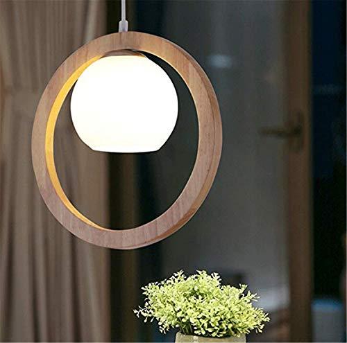 QHCGOOD Nordic Glas Kronleuchter Kreis Holz Pendelleuchte Zen Art Wohnzimmer Esszimmer Schlafzimmer Beleuchtung, E27 (Nicht enthalten)