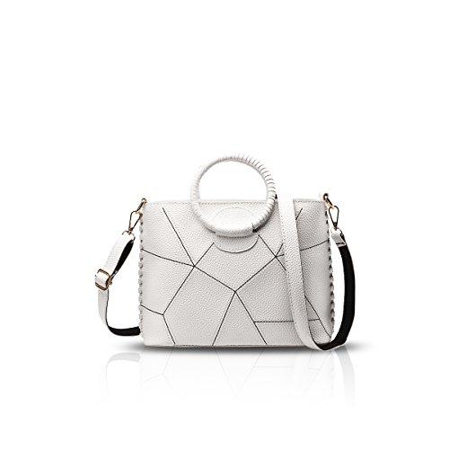 NICOLE&DORIS Le donne Totes del sacchetto morbido PU semplice borsa di Crossbody Sutura Linea Bianca Bianca