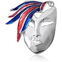 Chapado en plata veneciano mascarada máscara broche insignia azul y esmalte rojo plumas