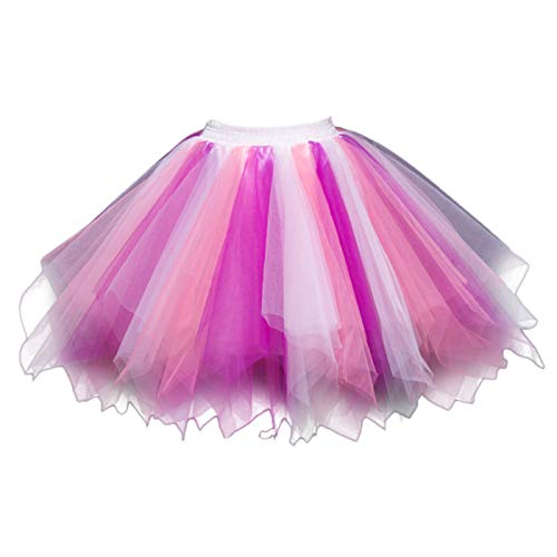 Feoya Damen Kurz Retro Petticoat Rock Ballett Blase 50er Tutu Unterrock Tütü Abschlussball Tanzkleid Party Minirock Tüllrock (Rosa Einhorn Kostüm)