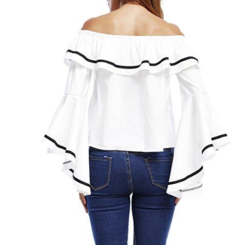 ... Honghu Damen Casual Elegant Langarm Trägerlos Trompete Ärmel T-shirt  Weiß ...