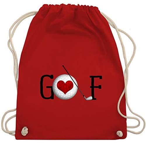Golf - Golf Herz Schriftzug - Unisize - Rot - WM110 - Turnbeutel & Gym Bag -