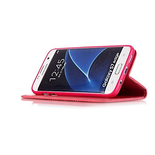 iPhone 6Custodia, iPhone 6S Custodia, con protezione per lo schermo in vetro temperato], qimmortal antigraffio Custodia posteriore morbida in silicone, elegante vintage premuto con brillantini strass Red
