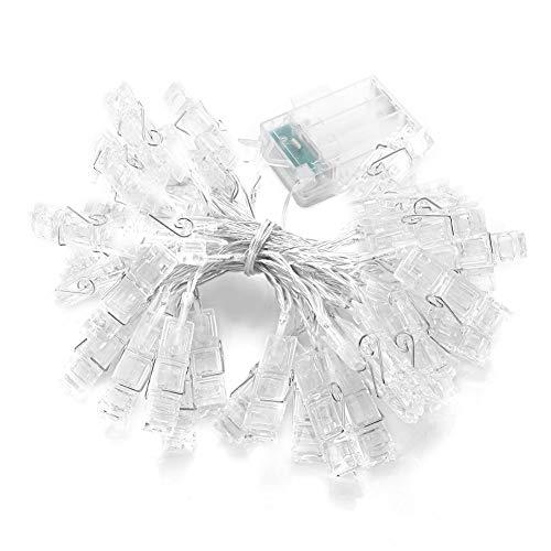 Riuty 30 LED-Fotoklammern Lichterketten, 3M batteriebetriebene Fotoklammer für Hochzeitsfeier Bar Bild hängenden Dekor
