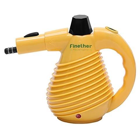 Finether 1500W Nettoyeur Vapeur à Main Electrique Multi-Fonctions 330 ml avec 10 Accessoires pour le Nettoyage et la Désinfection, Arrêt Automatique, GS, EMC et CE Certifié, Jaune