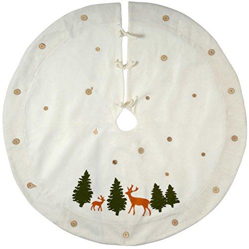 WeRChristmas–Decoración para base de árbol de Navidad, tela, blanco, 120cm, grande