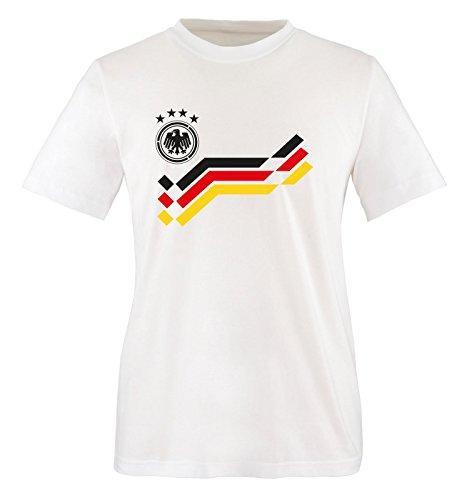 EM 2016 - DEUTSCHLAND - Retro - TRIKOT - Kinder T-Shirt - Weiss / Schwarz Gr. 134-146