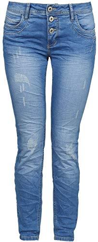 Sublevel Ladies Button Fly Skinny Fit Denim Jeans blau XL -