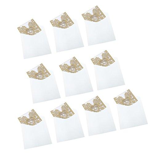 P Prettyia 10 Packung Hochzeit Einladungskarten Glückwunsch Einladung Karten, Elegante Blume Spitze 4 in 1 [ Hohle Hülse + Leere Karte + Umschlag + Doppel Herz] - Gold