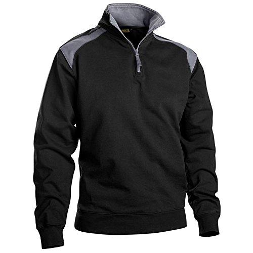 Sweater mit Half-Zip 2-farbig Schwarz/Grau L -