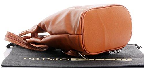 Italiano morbida nappa pelle maniglia superiore Borsa a tracolla zaino zaino.Fornita nella pratica custodia protettiva marca Tan