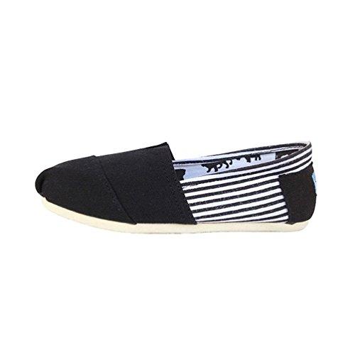 Dooxii unisex uomo donna casuale loafers scarpe moda tinta unita espadrillas basse scarpe slip on flats nero 37(23.5cm)