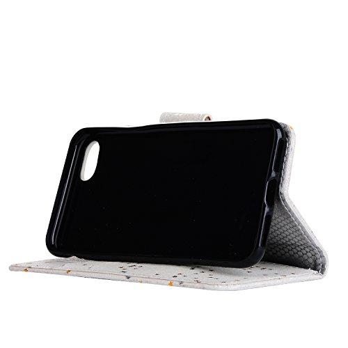 iPhone 6sPlus Handyhülle, CLTPY iPhone 6Plus Ledertasche Folio Brieftasche im Bookstyle, Funkel Kreativ Muster mit Stand Funktion Kartenfächer Magnetic Closure Etui für Apple iPhone 6Plus/6sPlus + 1 x Weiß Glitzer