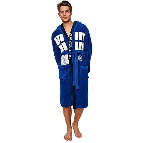 Doctor Who Tardis Erwachsene Bademantel in Geschenkbeutel Gr. One size, blau (Bestickter Bademantel)