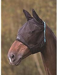 Shires Masque anti-mouches en maille fine avec oreilles, noir, Poney