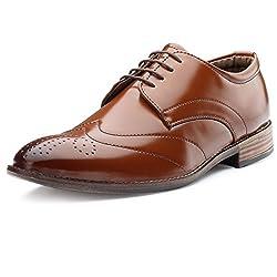 Escaro Tan Officewear Derby Shoes For Men(ES1079KB_Tan_7)