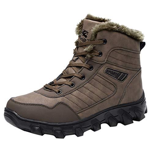 Turnschuhe Ritterstiefel Lederstiefel Schneeschuhe Sport Herren Winter Plus Velvet Warm High Schneeschuhe Outdoor Sports Cotton Boots zu helfen Braun 47
