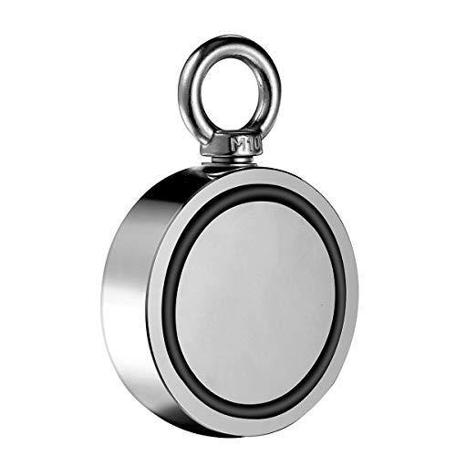 Wukong 770kg Doppelseitig Neodym Ösenmagnet,N52 Super Stark Power Magnete Perfekt zum Magnetfischen und Bergung,Neodymium Topfmagnet Ø 94mm -