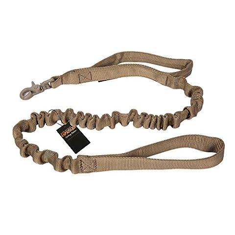 élasticité tactique militaire Laisse courte en nylon élastique Quick Release Longe avec poignée de commande pour grands chiens de chasse d'entraînement Jogging 83,8- 118,1cm en tendue