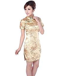ACVIP Donna Broccato Disegno Fiore Plum Cheongsam a Maniche Corte Qipao  Cinese 0897003bbed