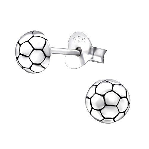 Laimons Kids Kinder-Ohrstecker Kinderschmuck Fußball oxidiert Sterling Silber 925