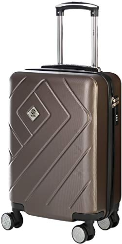 CABIN CASE | Valigia Trolley rigido con rotelle girevoli, 55cm | Blocco con 3 cifre omologato | Maniglie Soft-Touch | Manovrabilità impressionante | Utilizzabile come bagaglio a mano | Metallic Braun