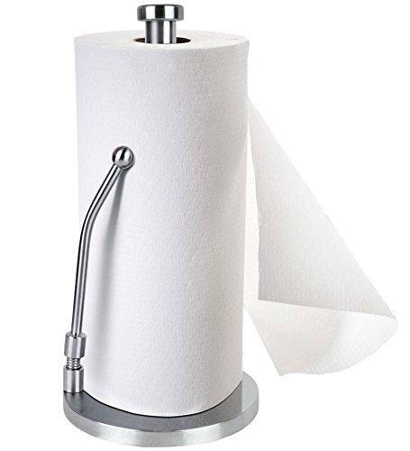 FAYOGOO Freistehender Papierhandtuchhalter, Vertikaler Stab Edelstahl-Gewebe Küchenrollenhalter mit rutschfester Hochleistungsbasis - 13,5
