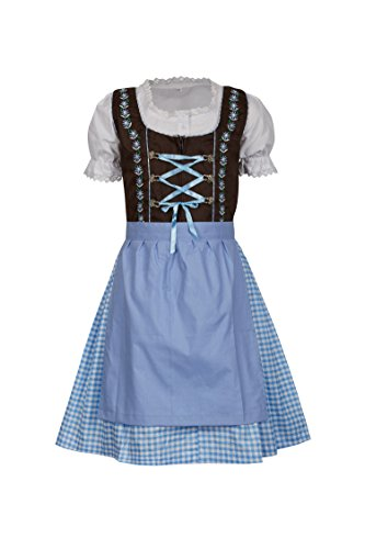 MS-Trachten 3 teiliges Kinder Dirndl Emma (128, braun hellblau)