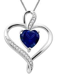 "Silvernshine Women's 1.25 Ct Heart Cut Blue Sapphire & Diamond Pendant Necklace, 18"" .925 Silver Chain"